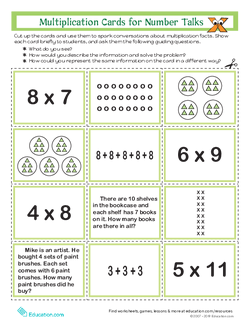 Multiplication Cards for Number Talks