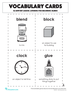 Vocabulary Cards: Listening for Beginning Blends