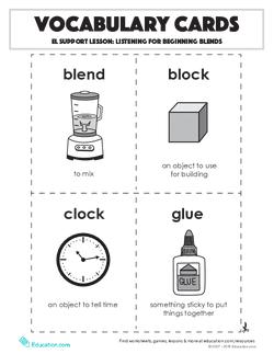 Vocabulary Cards: Listening for Beginning Blends