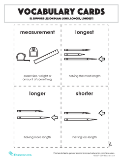 Vocabulary Cards: Long, Longer, Longest!