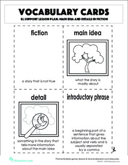 Vocabulary Cards: Main Idea and Details in Fiction