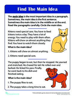 Main Idea of a Story Worksheet