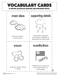 Vocabulary Cards: Main Idea and Supporting Details