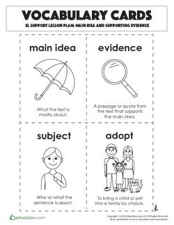 Vocabulary Cards: Main Idea and Supporting Evidence