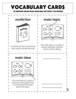 Vocabulary Cards: Main Idea or Topic? You Decide!
