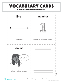 Vocabulary Cards: EL Support Lesson: Making a Number Line