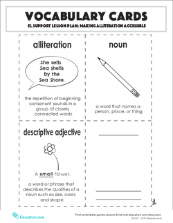 Vocabulary Cards: Making Alliteration Accessible