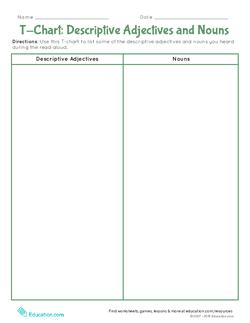 T-Chart: Descriptive Adjectives and Nouns
