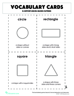 Vocabulary Cards: EL Support Lesson: Making Patterns