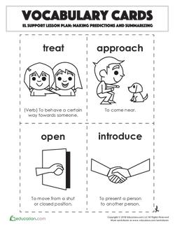 Vocabulary Cards: Making Predictions and Summarizing