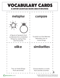 Vocabulary Cards: Making Sense of Metaphors