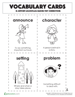 Vocabulary Cards: Making Text Connections
