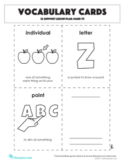 Vocabulary Cards: EL Support Lesson: Mark It!