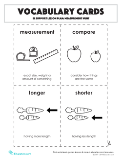 Vocabulary Cards: Measurement Hunt