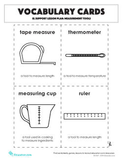 Vocabulary Cards: Measurement Tools