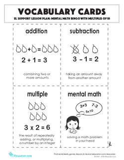 Vocabulary Cards: Mental Math Bingo with Multiples of 10