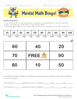 Mental Math Bingo!