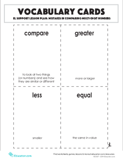 Vocabulary Cards: Mistakes in Comparing Multi-Digit Numbers