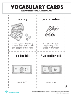 Vocabulary Cards: Money Values