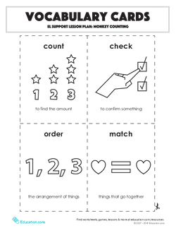 Vocabulary Cards: Monkey Counting