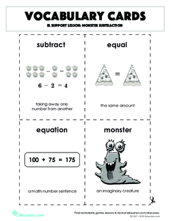 Vocabulary Cards: Monster Subtraction