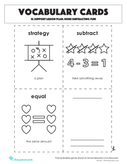 Vocabulary Cards: More Subtracting Fun!