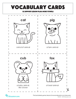 Vocabulary Cards: EL Support Lesson: More Vowels