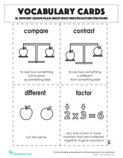 Vocabulary Cards: Multi-Digit Multiplication Strategies