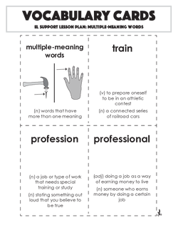 Vocabulary Cards: Multiple-Meaning Words