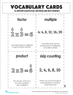 Vocabulary Cards: Multiples and Skip Counting
