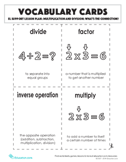 Vocabulary Cards: Multiplication and Division: What