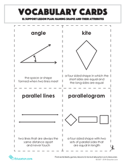 Vocabulary Cards: Naming Shapes and their Attributes