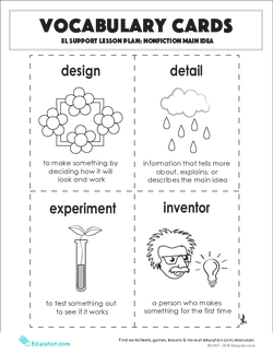 Vocabulary Cards: Nonfiction Main Idea