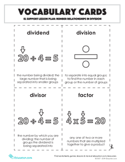 Vocabulary Cards: Number Relationships in Division