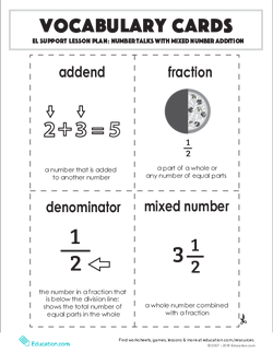 Vocabulary Cards: Number Talks with Mixed Number Addition
