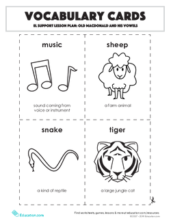 Vocabulary Cards: Old MacDonald and His Vowels