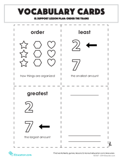 Vocabulary Cards: Order the Trains