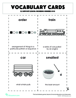 Vocabulary Cards: Ordering Numbers 0-10