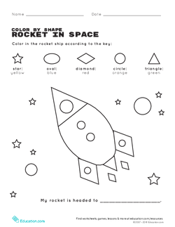 Color by Shape: Rocket in Space