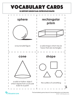 Vocabulary Cards: Outer Space Shapes