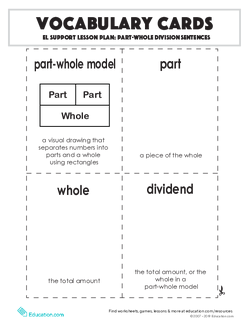 Vocabulary Cards: Part-Whole Division Sentences