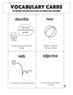 Vocabulary Cards: Parts of Speech that Describe