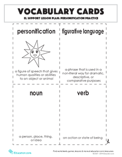 Vocabulary Cards: Personification Practice