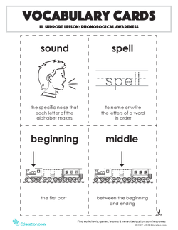 Vocabulary Cards: Phonological Awareness