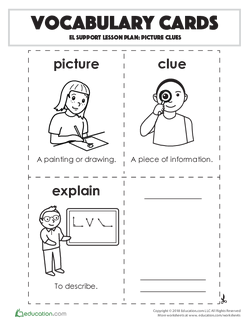 Vocabulary Cards: Picture Clues