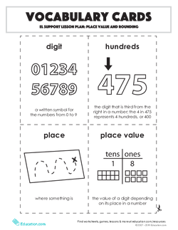 Vocabulary Cards: Place Value and Rounding