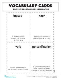 Vocabulary Cards: Poetic Personification