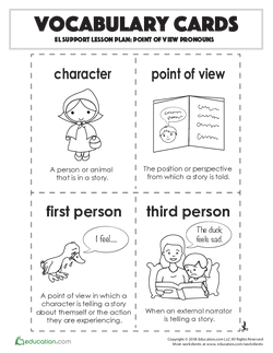 Vocabulary Cards: Point of View Pronouns