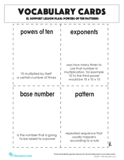 Vocabulary Cards: Powers of Ten Patterns