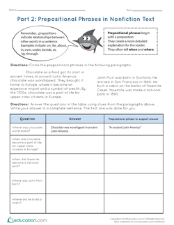 Part 2: Prepositional Phrases in Nonfiction Text